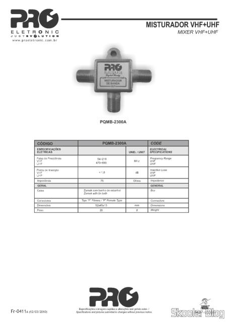PDF com especificações técnicas do Especificações do Proeletronic PQMB-2300B no site da Proeletronic