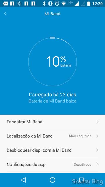 Mi Band 1S, com 10% da carga após 23 dias de uso contínuo