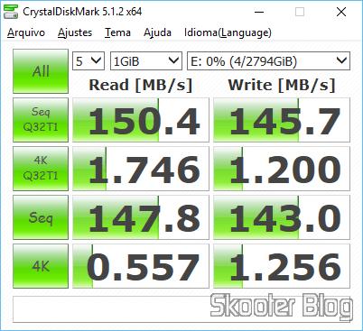 Teste de desempenho do HD Western Digital WD Green 3.0TB WD30EZRX obtidas com o CrystalDiskMark