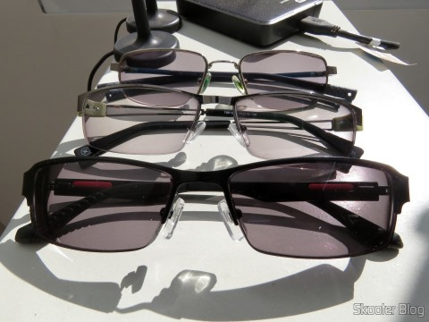 Sunglasses with Degree - G4u 2104 com lentes 1.57 CR39, G4U Glasses 79012 with lenses 1.56 Photochromic Glasses and gray Nike Flexon alloy frame 4182 045 com slow Essilor Transitions