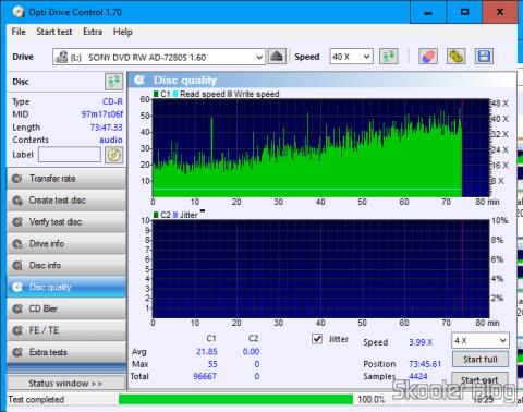 Teste da segunda mídia CD-R gravada com o O Gravador de DVD+/-RW Sony AD-7280S. com a velocidade de leitura travada em 4X