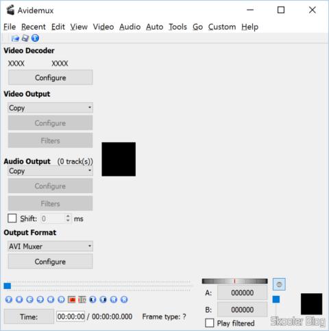 Avidemux com botões e menus com os textos corretos