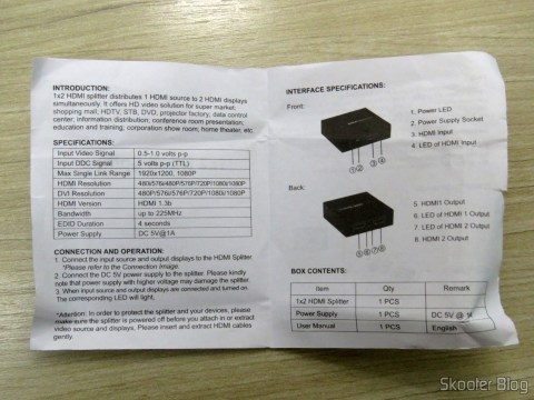 Instruction manual HDMI Splitter 1 x 1.3 b 1080 p 3D