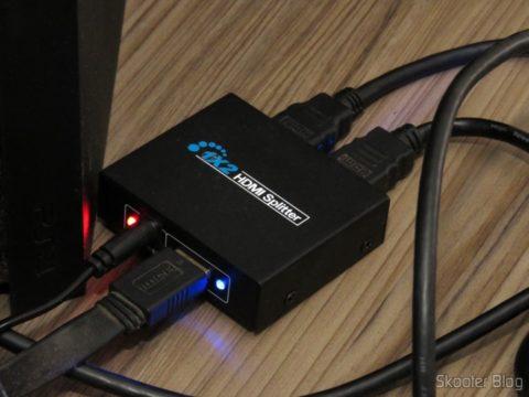 Splitter HDMI 1x2 1.3b 1080p 3D, em funcionamento
