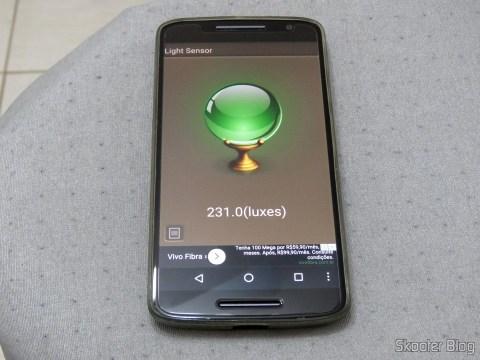 Sensor de Iluminação com as 3 lâmpadas CFL acesas