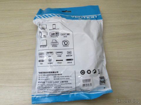 Cabo HDMI 2.0 4K 3D 60Hz Vention de 5 metros, em sua embalagem