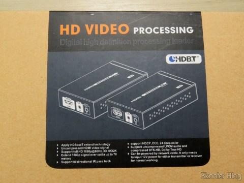 Extensor HDMI Lenkeng LKV375 HDBaseT em sua embalagem