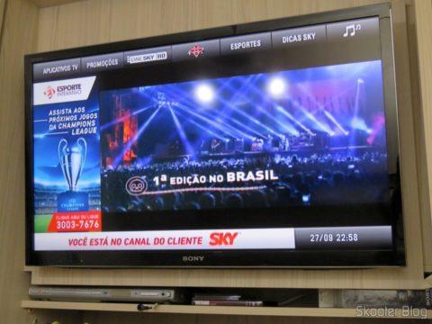 TV no ponto escravo sintonizando a Sky
