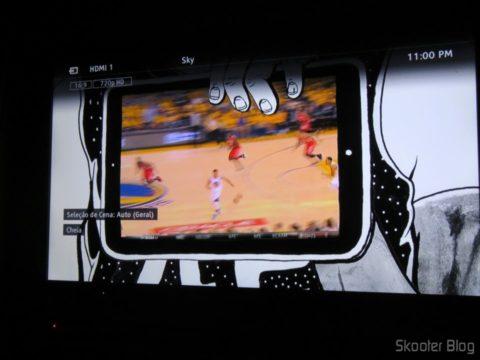 TV no ponto escravo sintonizando a Sky, canal em 720p