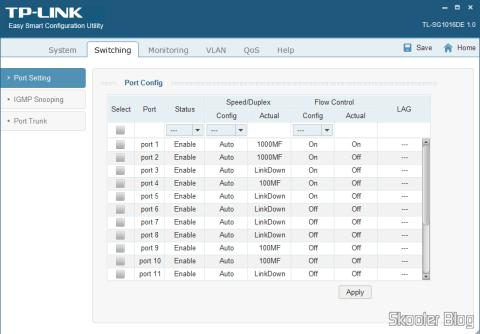 Tela de Configuração de Portas no TP-Link Easy Smart Configuration Utility