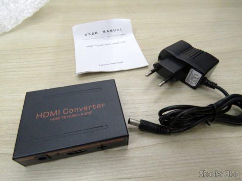 Extrator de Áudio de HDMI para SPDIF e Analógico RCA Estéreo, Fonte de Alimentação e Manual de Instruções