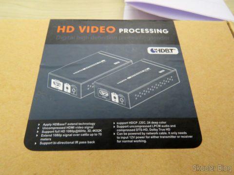 Embalagem do 2º Extensor HDMI Lenkeng LKV375 HDBaseT por Par Trançado Único