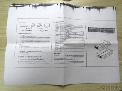 Manual de Instruções do 2º Extensor HDMI Lenkeng LKV375 HDBaseT por Par Trançado Único