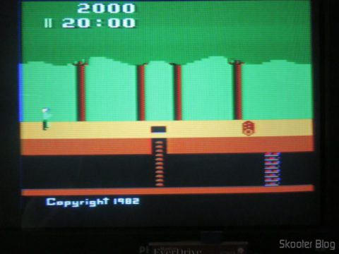 Colors of Pitfall on my Atari of Polivoks, model with built-in source and detachable joysticks, After the hue adjustment