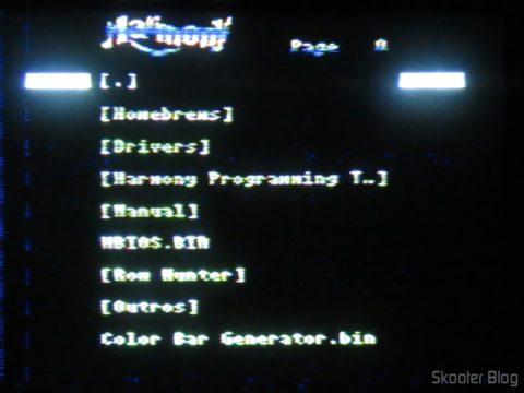 Menu do Harmony Cartridge no Atari 2600 da Polyvox c/ fonte externa