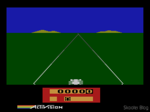 Screenshot of Enduro on Stella emulator: Red Panel