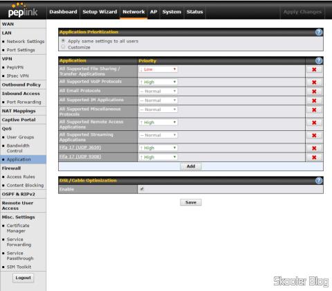 Ajustando prioridade de aplicações no Peplink Balance One