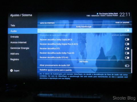 Configurando o passthrough de áudio no XBMC