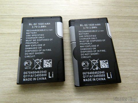 2 BL-5 c batteries 1020mAh
