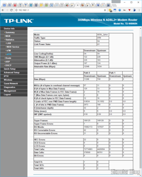 TP-Link TD-W8960N: with the SNR target in 12 dB