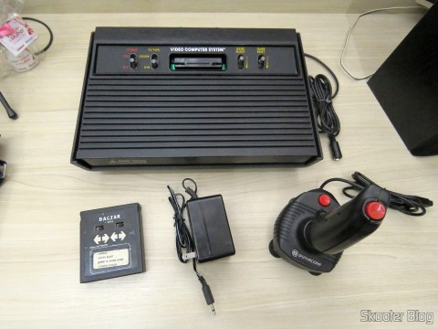 Atari 2600 Dactar cartridge with 4 games, power supply and Dynavision joystick