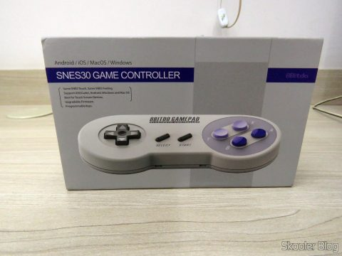 8bitdo SNES30 GamePad, on its packaging