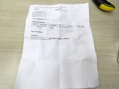 Invoice do Armani 3.4 oz (100ml) EDT Spray