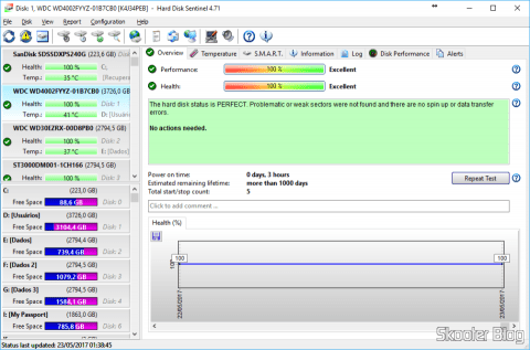 Hard Disk Sentinel, analyzing the newly installed HD