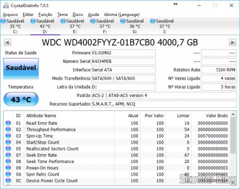 CrystalDiskInfo, analisando o HD recém-instalado