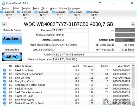 CrystalDiskInfo, analisando o HD após quase 3 meses de uso