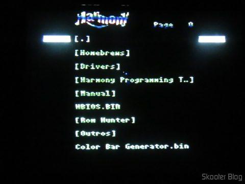Harmony Cartridge, executando em NTSC.