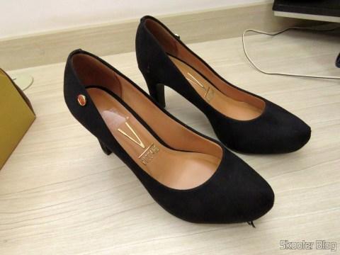 Sapato Salto Feminino Vizzano Preto Camurça Flex