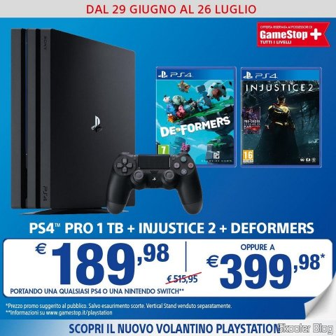 GameStop promotion of Italy: Playstation Pro + Injustice 2 + Deformers for 399,98 Euros.