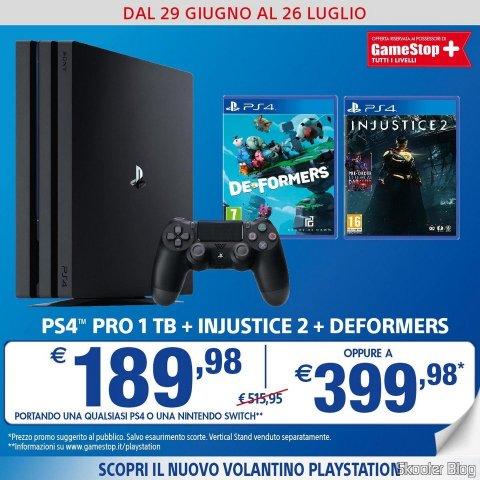 Promoção da GameStop da Itália: Playstation Pro + Injustice 2 + Deformers por 399,98 Euros.