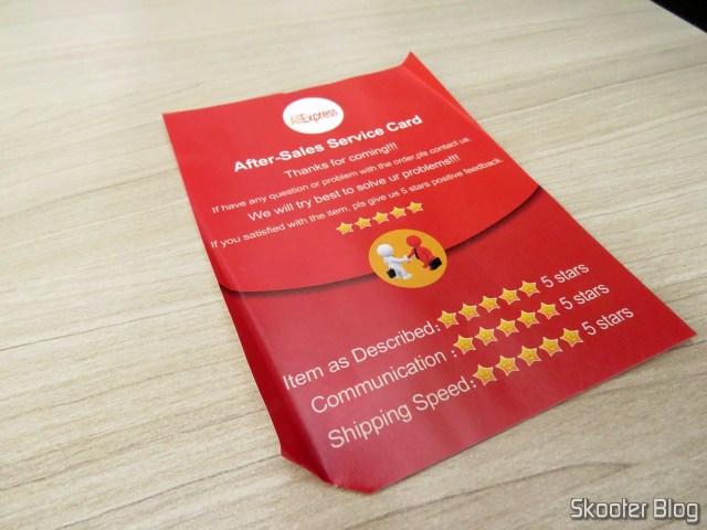 Folheto que veio no pacote da Capa para iPhone 7 Nillkin Ultra Fina Rosa Translúcida.