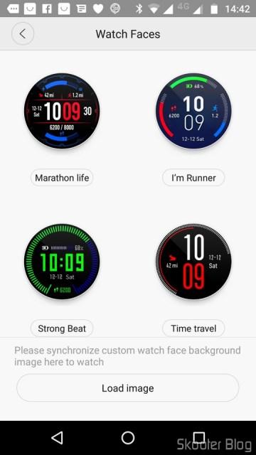 Seleção de Watch Faces no aplicativo.