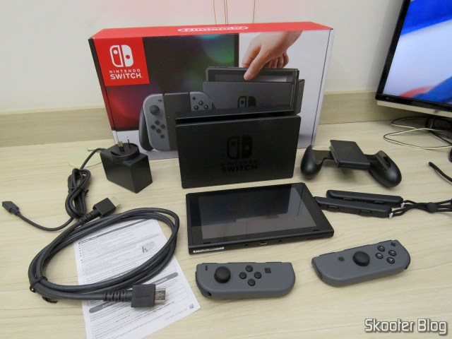 Nintendo Switch and its accessories.