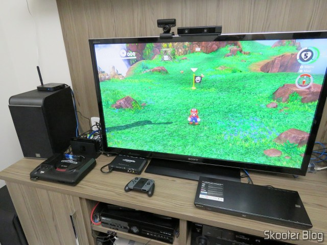 Nintendo Switch, connected to the TV.