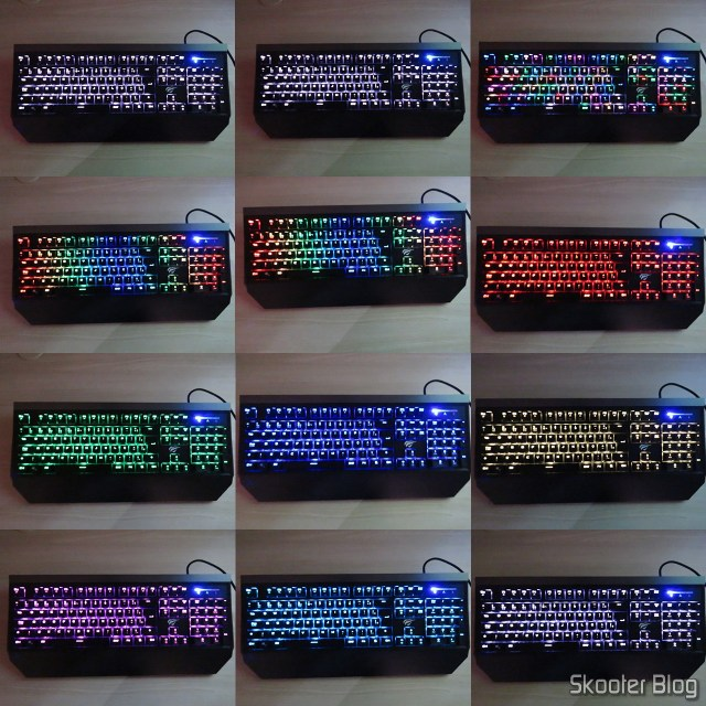 The various colors of the mechanical keyboard Jus HV-KB370L RGB.