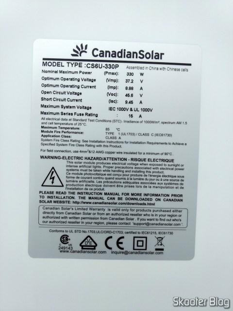 Ficha técnica dos painéis solares.