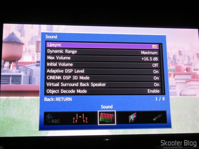 Sound settings of RX-A870.