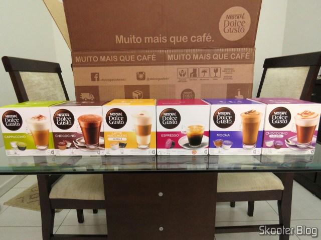 As seis caixas de cápsulas da Nescafé Dolce Gusto.