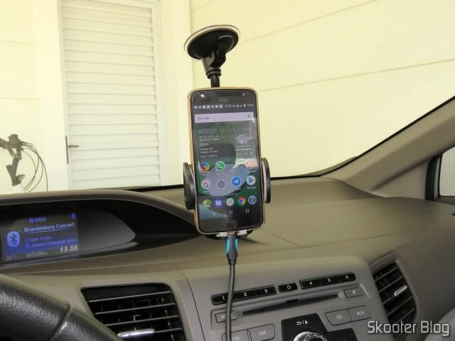 Teste do Suporte de Celular Universal para Carro Ajustável Cobao.