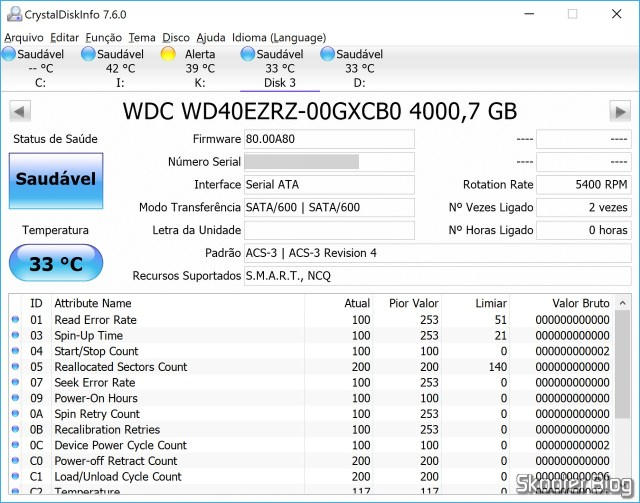 "HDD Western Digital Blue 3.5"" WD40EZRZ 4 TB in CrystalDiskInfo."