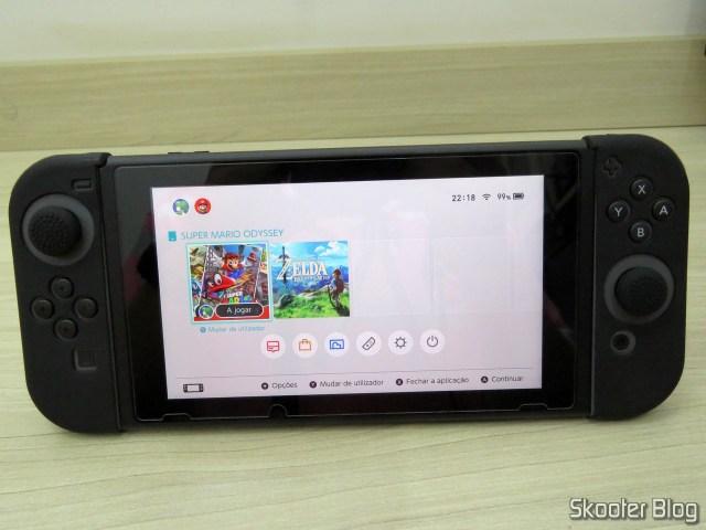 A Película de Vidro Temperado aplicada no Nintendo Switch.