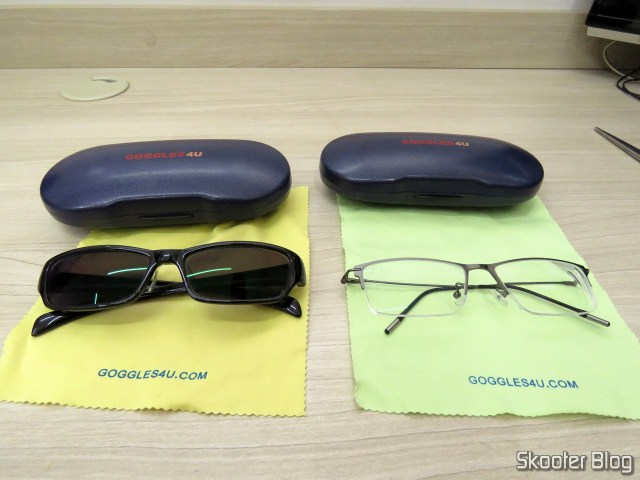 The two glasses of Goggles4U and their respective cases.