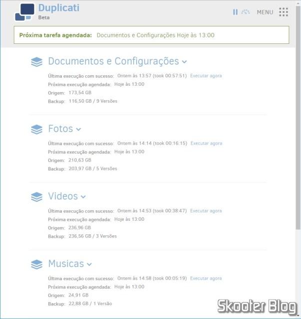 Interface do Duplicati, acessada via Web.