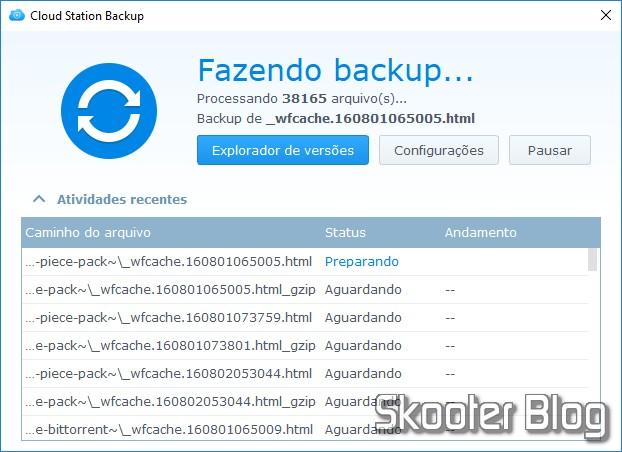 Cloud Station running Backup.