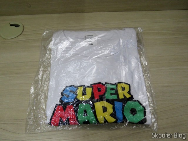 Super Mario t-shirt, on its packaging.