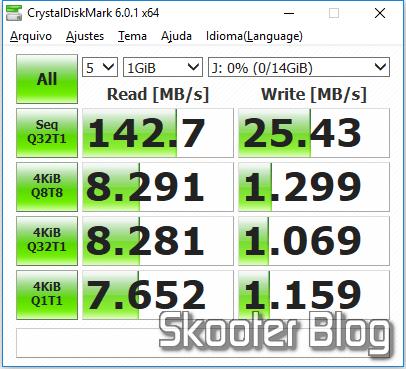 Teste do Pendrive Sandisk 16GB Ultra Flair USB 3.0. com o CrystalDiskMark.